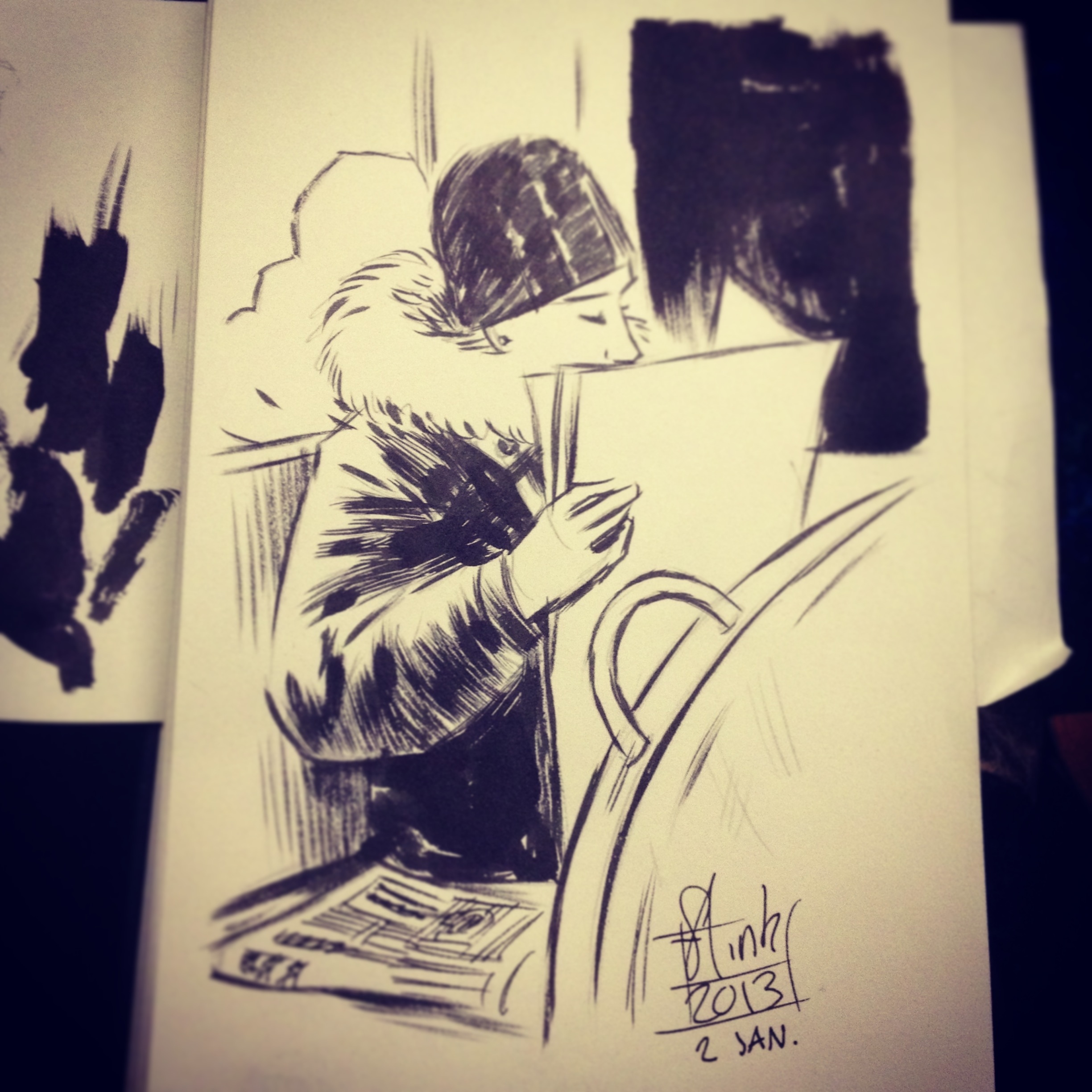 Reading the newspaper on the train, Drawing by Martin Flink. Sketchbook