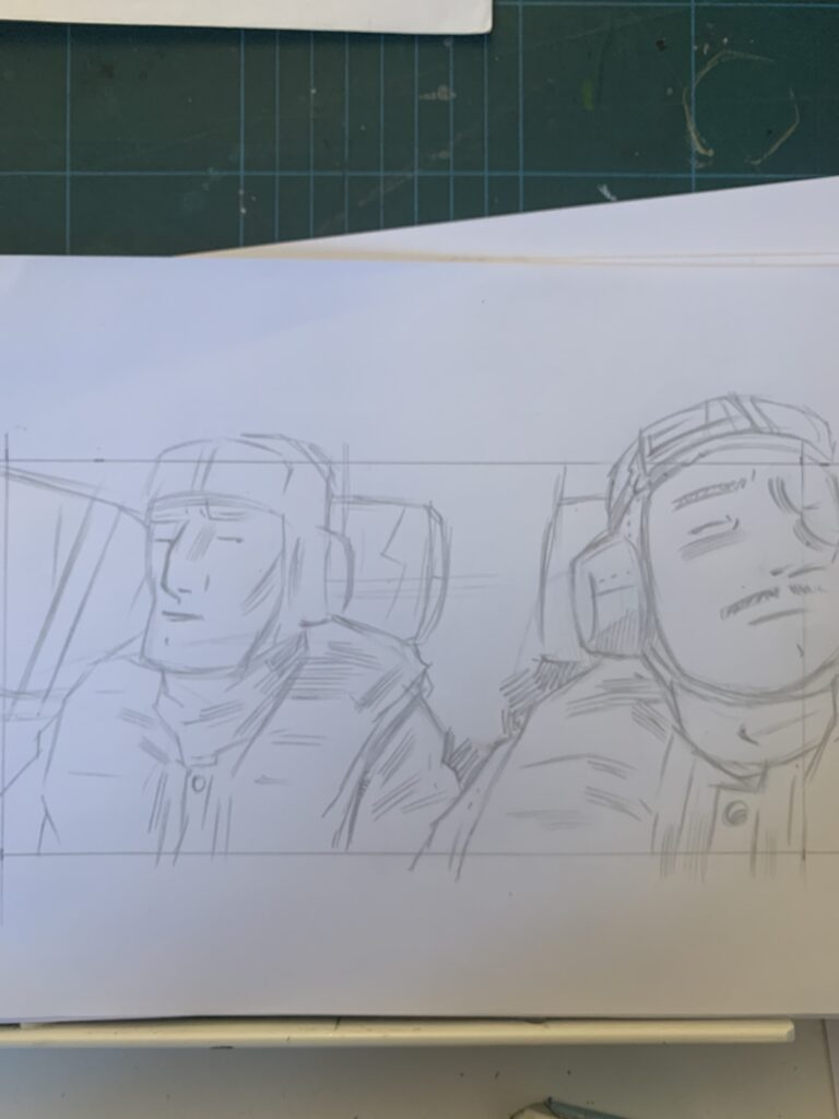 Pencil-sketch for an image on page 17 of Project ÆON
